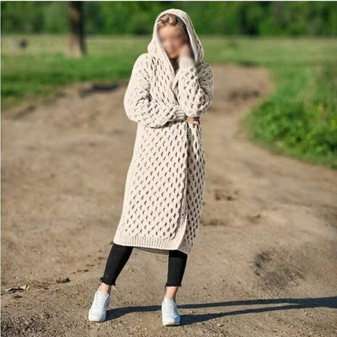 Solid Color Long Knit Sweater Hooded Cardigan Coat