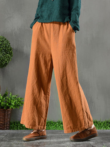 Cotton Pockets Casual Pants