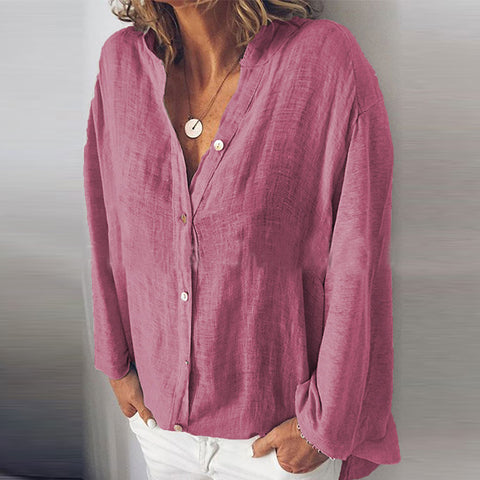 Solid Color Button Collar Long Sleeve Shirt