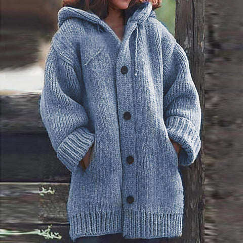 Commuting Long Sleeve Single-breasted Pure Color Knit Coat