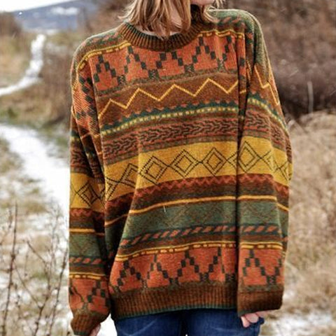Ladies Color Pattern Sweater