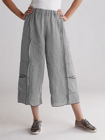 Solid Casual Patchwork Pants