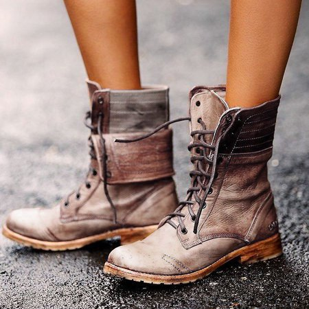 Fashion Round Toe Low Heel Lace-up Boots