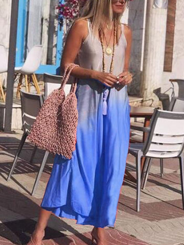 Color-Block V Neck Boho Dresses