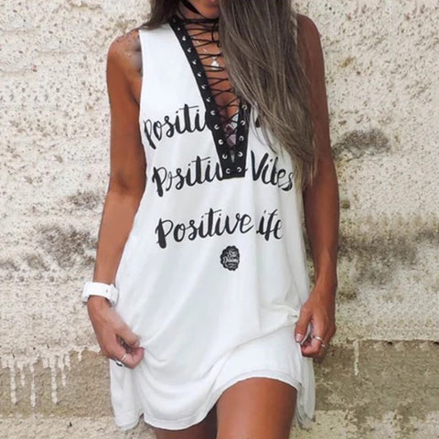Casual Hollow Out Lace-Up Printed Dress