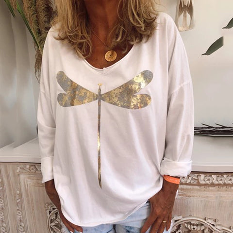 Casual Round Neck Loose Long Sleeves Dragonfly Printed Shirt