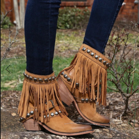 Fashion Rivet Tassel High Heel Thick Ankle Boots