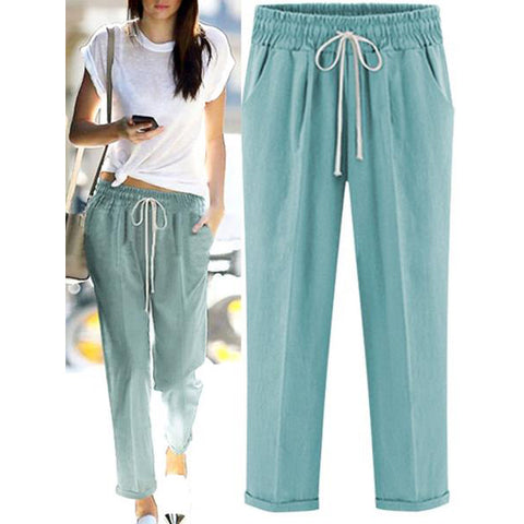Casual Long Pants Plus Size Shift Straight Summer Pants