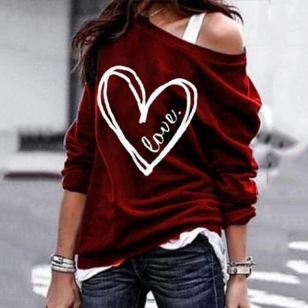 Casual One Shoulder Long Sleeve Printed Colour Sweatshirt