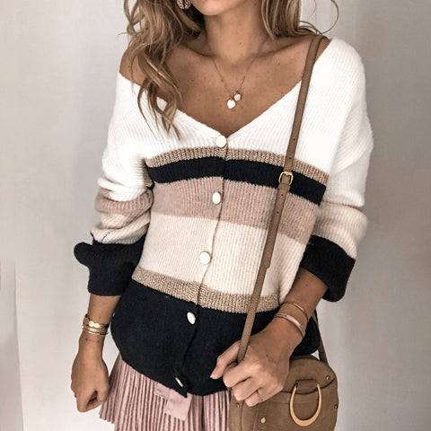 Colorblock Button Knit Cardigan Top
