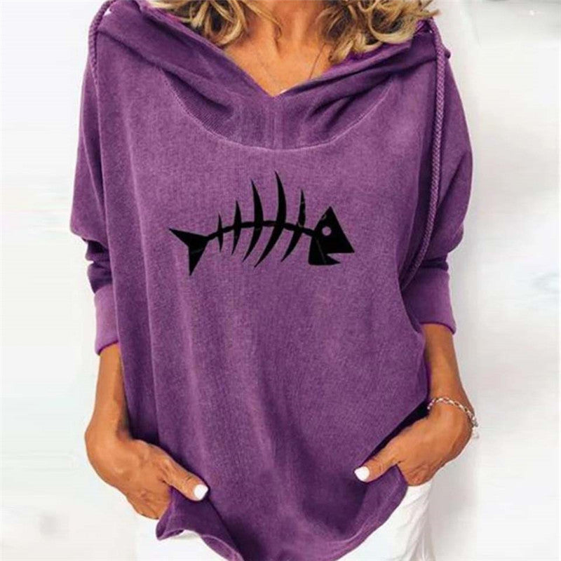 Casual Loose Printed Hooded Sweatshirt