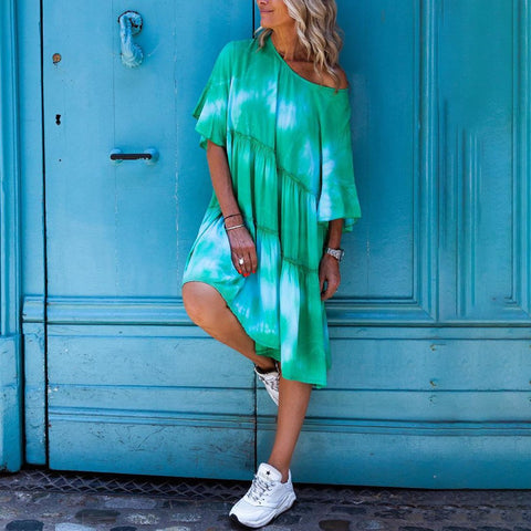 Casual Round Collar Tie-Dyed Dress