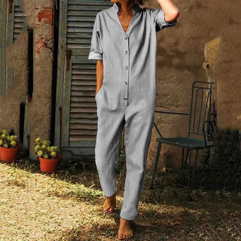 Contracted Temperament Pure Colour Button Jumpsuits
