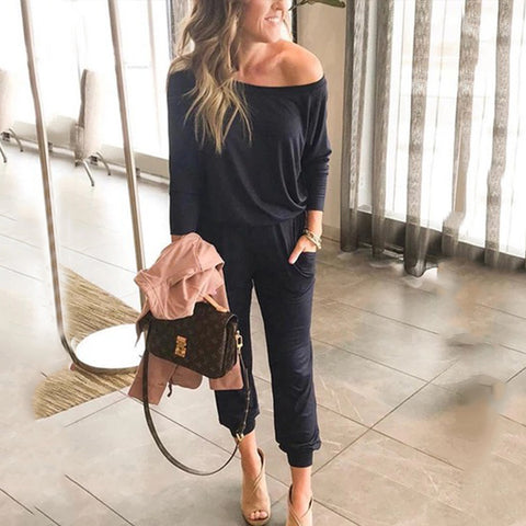 Word Collar  Plain Jumpsuits