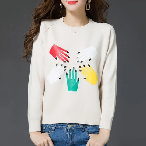 Round Neck Patchwork Cute Printed Long Sleeve Knit Pullover