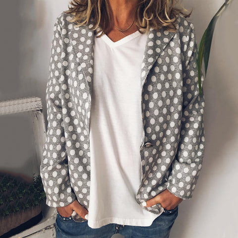 Casual Turndown Collar Long Sleeve Polka Dot Blazer