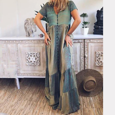Women V Neck Casual Loose Maxi Dress