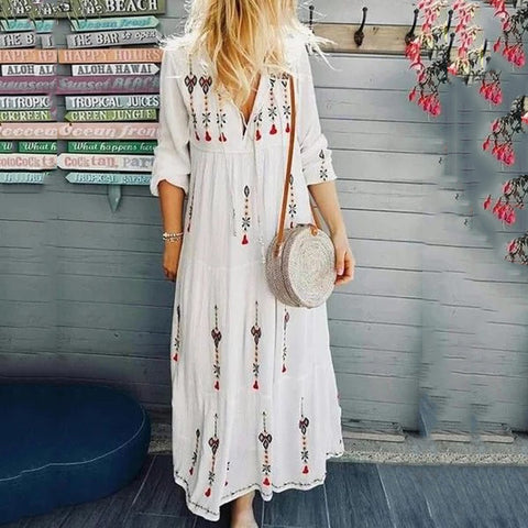 V Neck  Floral Printed Holiday Embroidered Floral Dresses