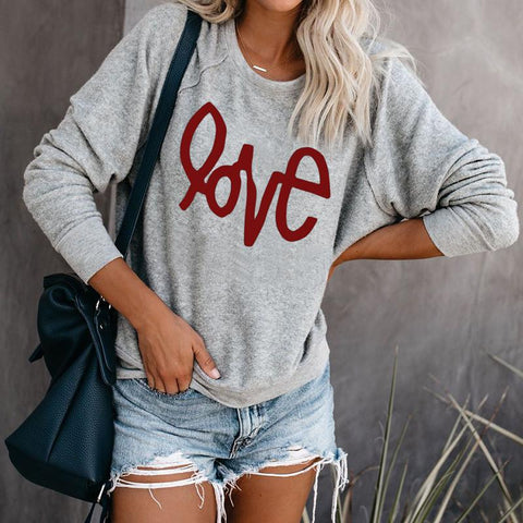 Casual Printed Round Neck Long Sleeve Sweatshirt