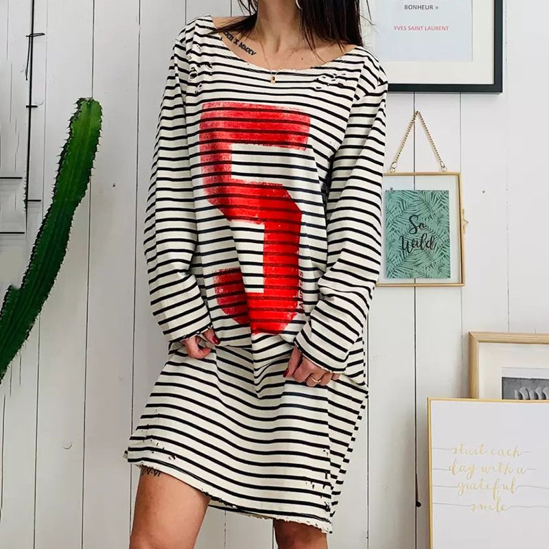 Casual Long Sleeve Striped Letter Round Neck Dress