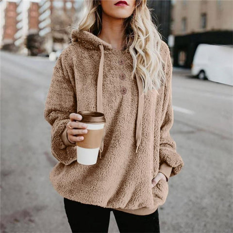 Casual Long Sleeve Hooded Solid Color Plush Sweater