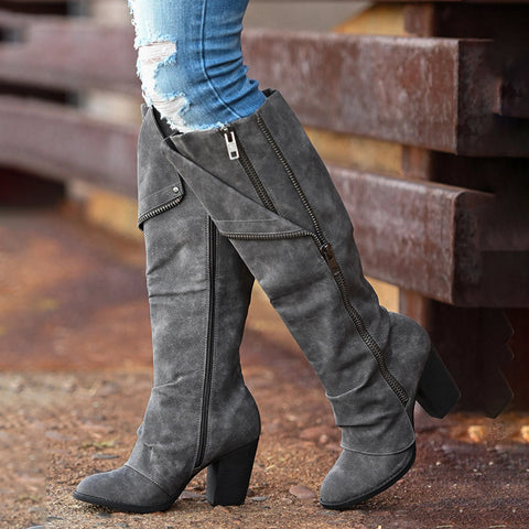 Fashion Side Zipper Pure Color Chunky Heels Boots