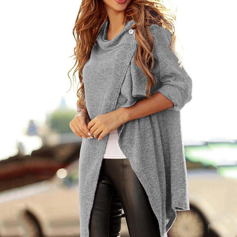 Casual Pure Color Round Neck Long-Sleeved Cardigan