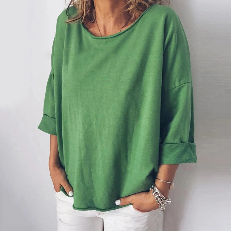 Woman's Loose Large Size Casual Round Neck Solid Color T-shirt