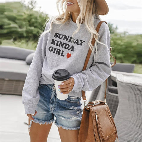 Round Neck Letter Printed Long Sleeve Sweatshirt