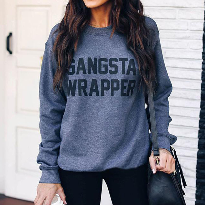 Casual Round Collar Long Sleeved Letter Printed Sweatshirt