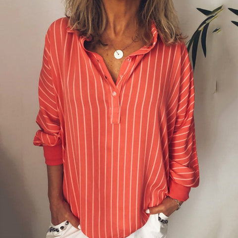 Casual Folding Collar Loose Long Sleeves Vertical Striped Shirt