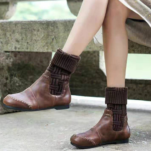 Retro Splicing Round-Toed Low-Heel Ankle Boots