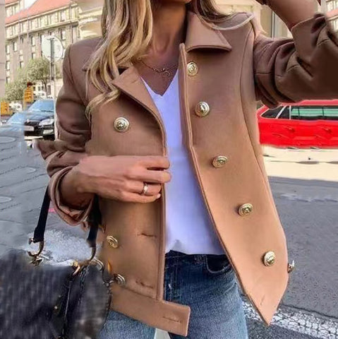 Women's Double-breasted Solid Wool Short Coat