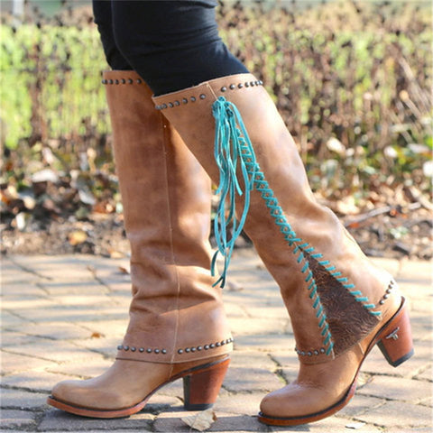 Retro Side Lace-up Rivet Mixed Color Thick Heel Boots