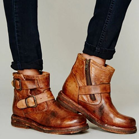 Preppy Style Belt Buckle Flat Ankle Boots