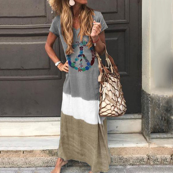 V-Neck Tie-Dye Short Sleeve Casual Maxi Dress