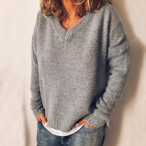 Simple Solid Color Knitted V-Neck Pullover Loose Warm Sweater