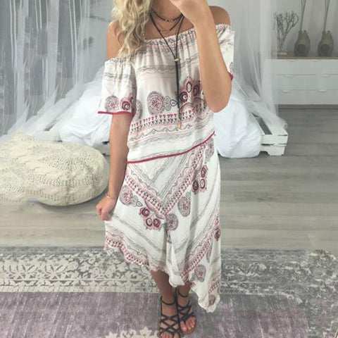 Women Casual Printing Off Shoulder Short Sleeve Midi Dresses