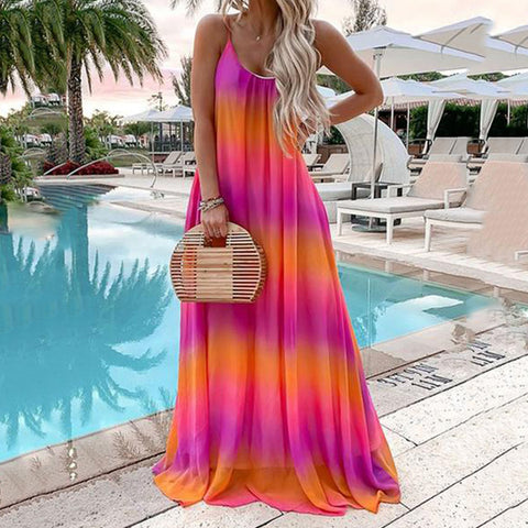 Summer Sleeveless Square Neck Gradient Tie Dye Maxi Dress