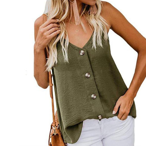 Summer Camis V-Neck Vest Buttoned Spaghetti Tops