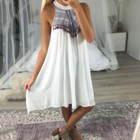 Women Casual Printing Sleeveless Midi Dresses