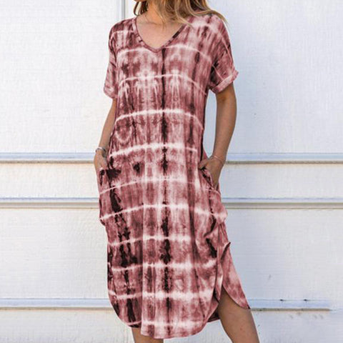 Women Casual Tie Dye Midi Dresses
