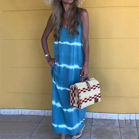 V Neck Cotton Sleeveless Maxi Dresses