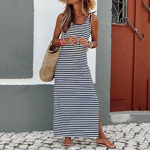 Casual Round Neck Stripe Sleeveless Maxi Dress