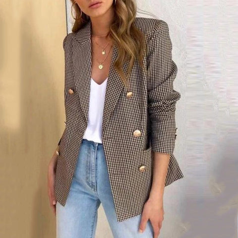 Casual Double-Breasted Checked Suit Blazer