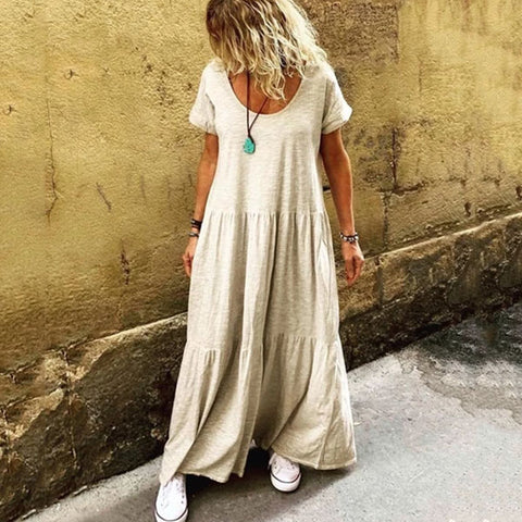 Ruffled Short Sleeve Casual Round Neck Maxi Dress