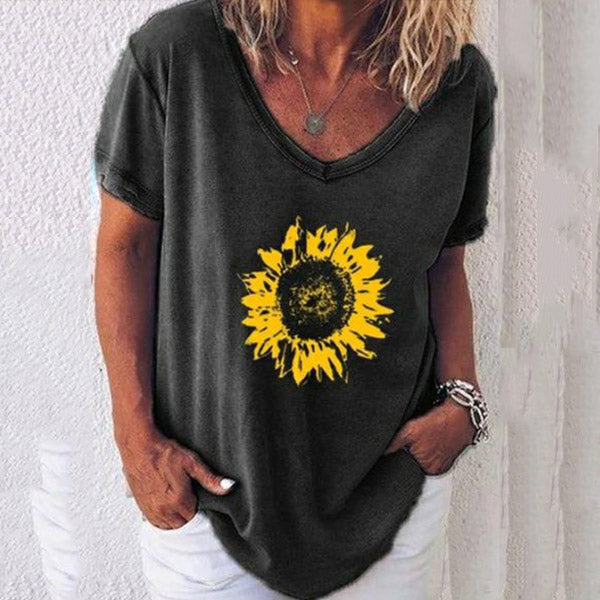 Sunflower V Neck T-Shirts