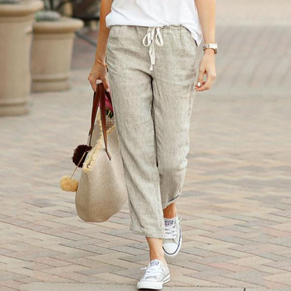 Summer Capri Pockets Drawstring Solid Color Pants