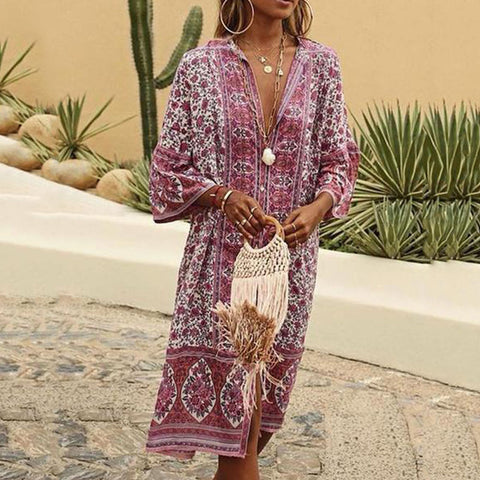 Summer Bohemian V Neck Printed Midi Dress