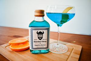 Ready to drink bottled gin sapphire martini cocktail by Bearded Viking Drinks